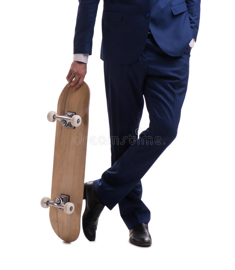 Businessman with skateboard isolated on white background. The businessman with skateboard isolated on white background royalty free stock photo