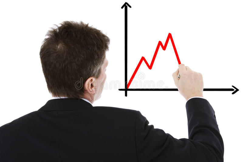 Download Businessman Sketching Negative Chart Stock Image - Image: 22112833