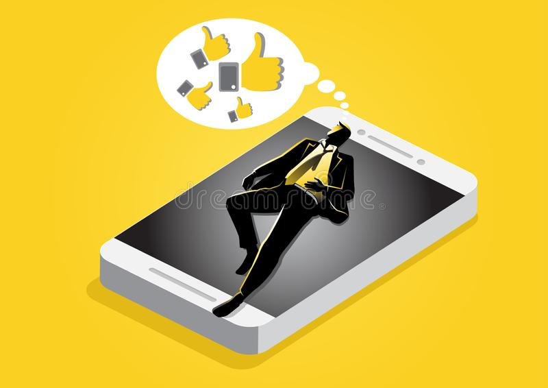 Businessman sleeping and dreaming. An illustration of businessman sleep on the cellphone surface and dreaming about media social likes royalty free illustration
