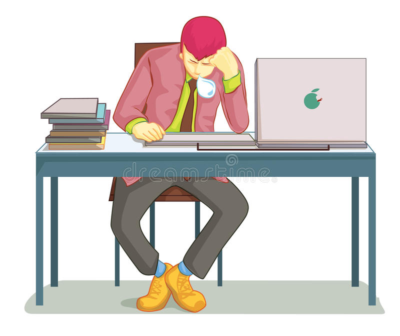 Businessman sleeping on his office desk. Top. Table and work, sleepy and job, nap and lazy, asleep and worker. Vector illustration vector illustration