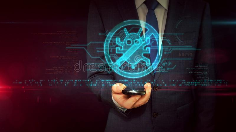 Businessman with smartphone and antivirus hologram concept royalty free stock images