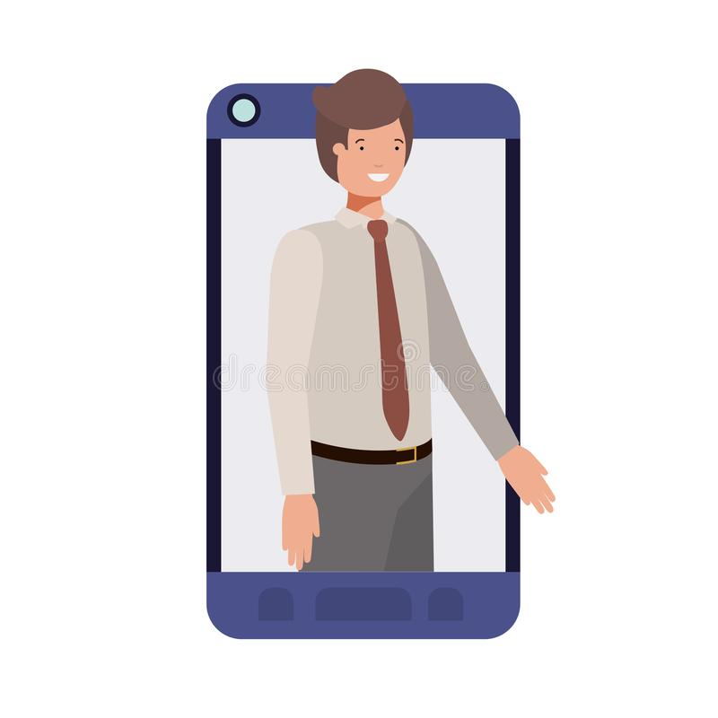 Businessman in smartphone avatar character. Vector illustration desing stock illustration