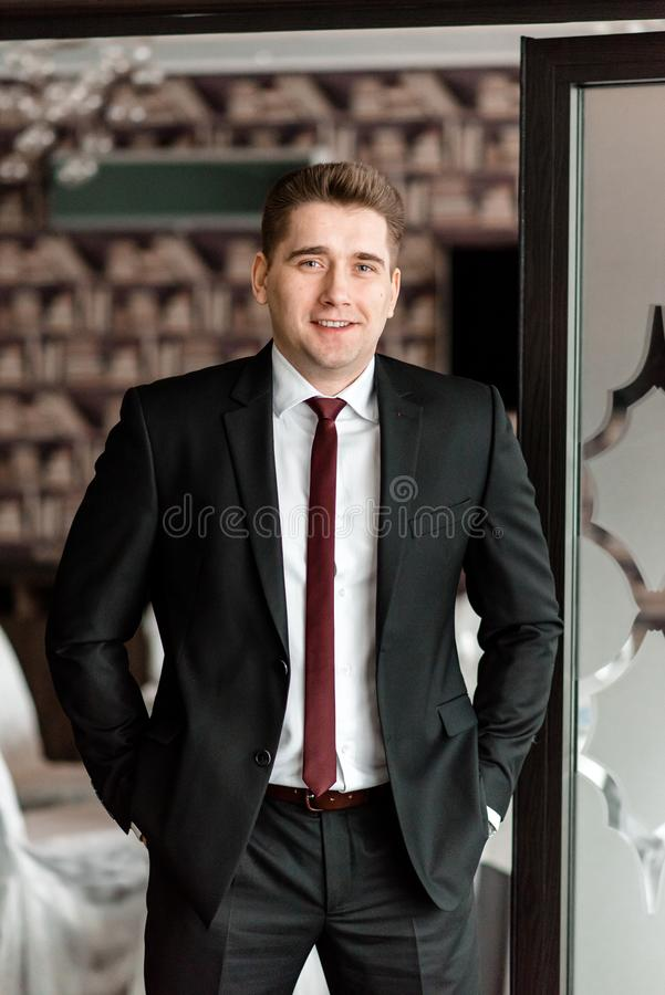 A businessman is smiling at the office.. royalty free stock photography