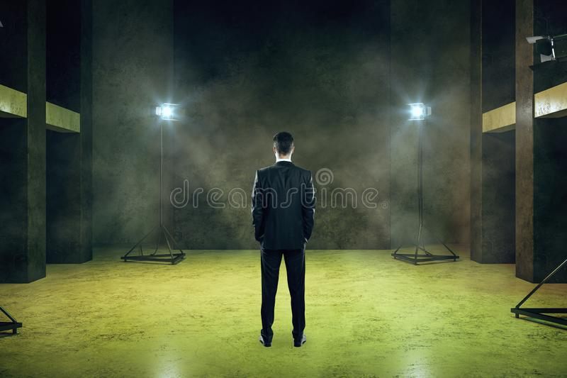 Businessman in smoky room royalty free stock image