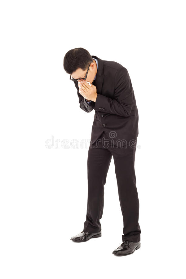 Download Businessman Is Sneezing With Bending Body Stock Image - Image: 38786953