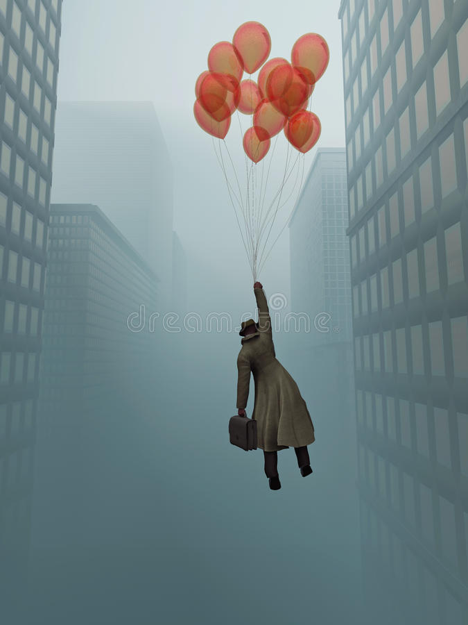 Businessman soaring on balloon in city stock photo