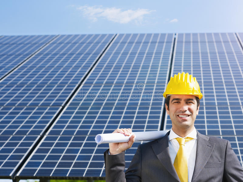 Download Businessman And Solar Panels Stock Image - Image: 14407265