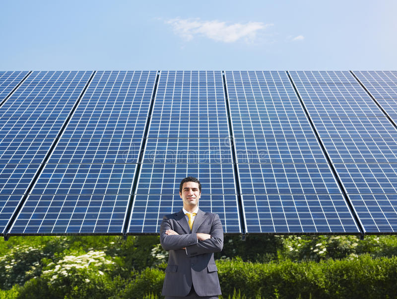 Download Businessman And Solar Panels Stock Image - Image: 14478903