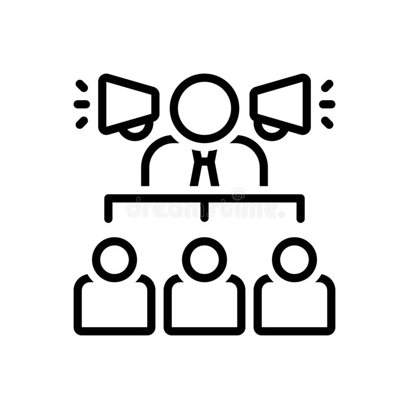 Black line icon for Businessman With A Speaker, hierarchical and speaker. Black line icon for Businessman With A Speaker, consultant, adviser, counsellor royalty free illustration