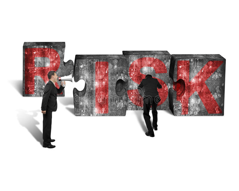 Businessman speaker yelling other pushing jigsaw blocks red RISK stock photos