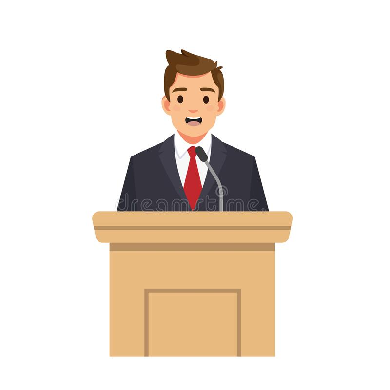 Free Businessman Speaking From Tribune. Public Speaker Isolated On White Backgorund. Stock Photo - 179401070