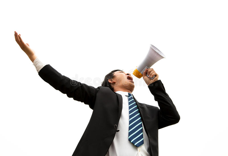 Businessman Speaking With Loud Noise Stock Photo
