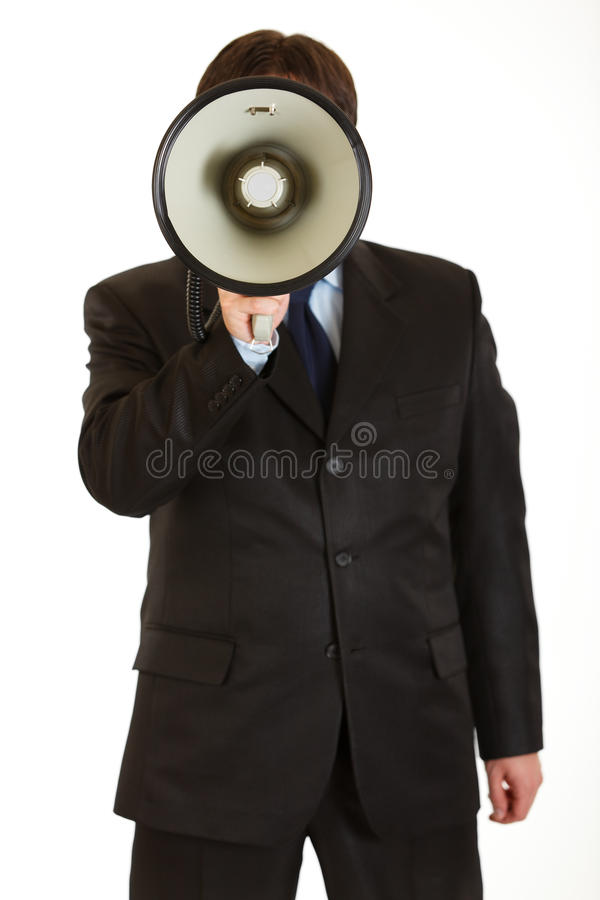 Download Businessman Speaking Into Megaphone Isolated Stock Image - Image: 17347653