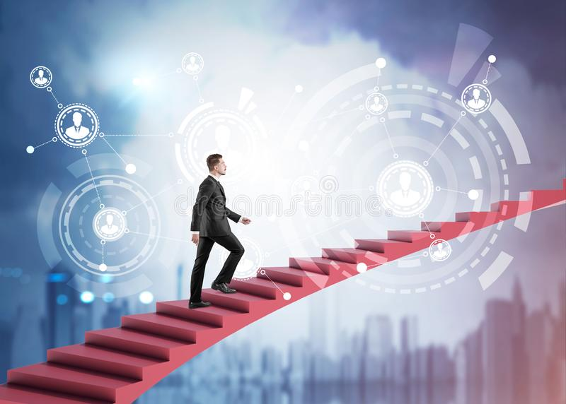 Businessman on stairs in city, HR icons. Young businessman climbing stairs to sky over blurry cityscape background with HUD people network interface. Concept of royalty free illustration