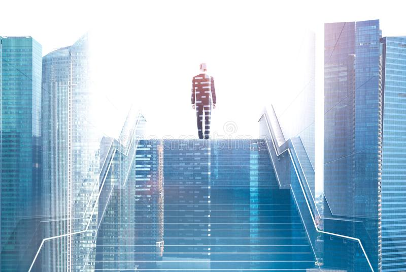 Businessman on stairs in city, success concept. Rear view of businessman on top of staircase with double exposure of modern city. Concept of career ladder and vector illustration