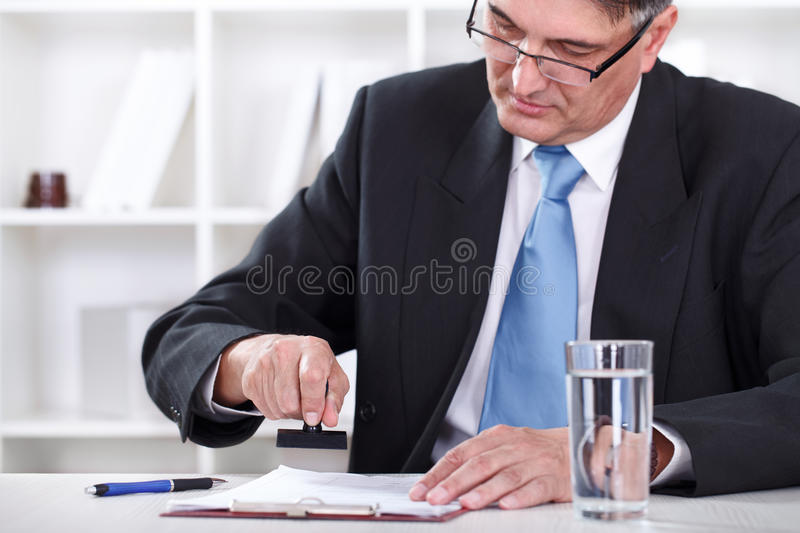 Download Businessman Stamping Document , Approve Contract Stock Image - Image of pressure, horizontal: 26728517