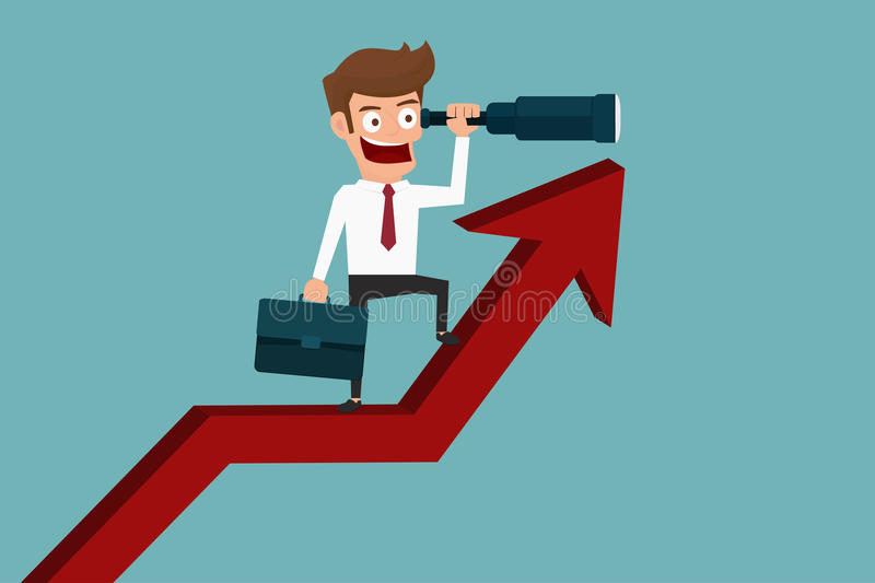 Businessman stand on arrow graph using telescope looking for success, opportunities. Future business trends. Vision concept. Cartoon Vector Illustration stock illustration