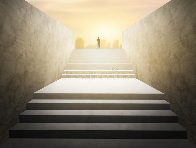 Businessman stand and look for future on stairs stock images