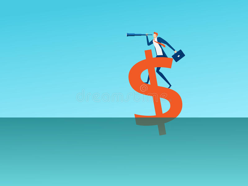 Businessman stand on money sign using telescope looking for success, opportunities, future business trends. Vision concept. Cartoon Vector Illustration royalty free illustration