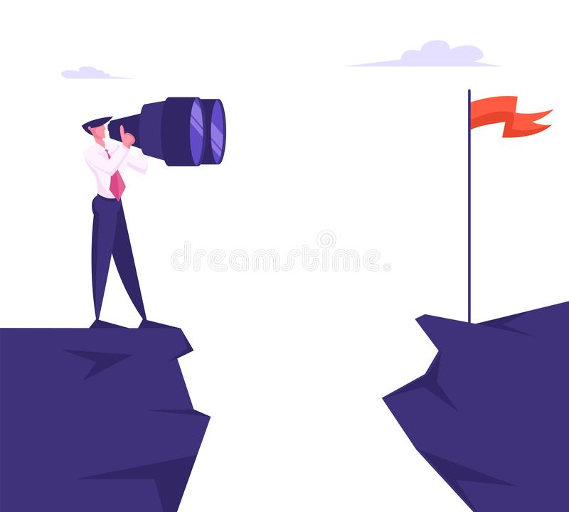 Businessman Stand on Mountain Top Watching through Huge Binoculars on Red Flag on other Side of Cliff. Business Goal vector illustration