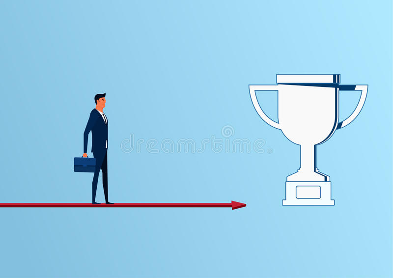 Businessman standing on arrow graph approach to trophy and success, opportunities, future business trends. royalty free illustration
