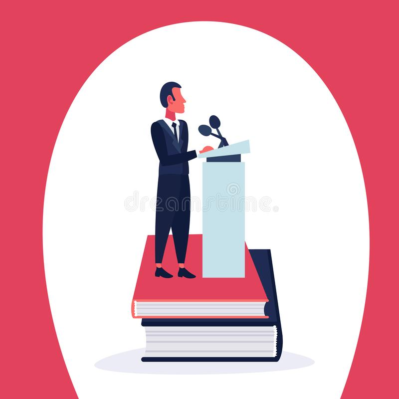 Businessman standing book stack tribune announcer leader concept microphone cartoon character isolated full length flat stock illustration