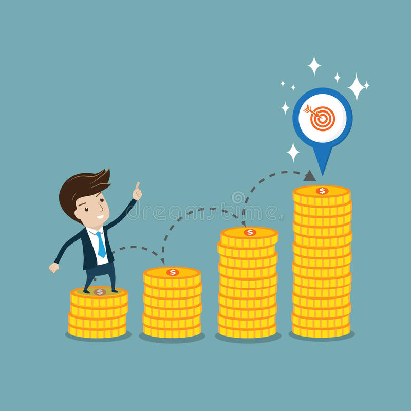 Businessman standing on coin step and pointing to target. Vector cartoon for profit, target, goal, or growth of business concept vector illustration