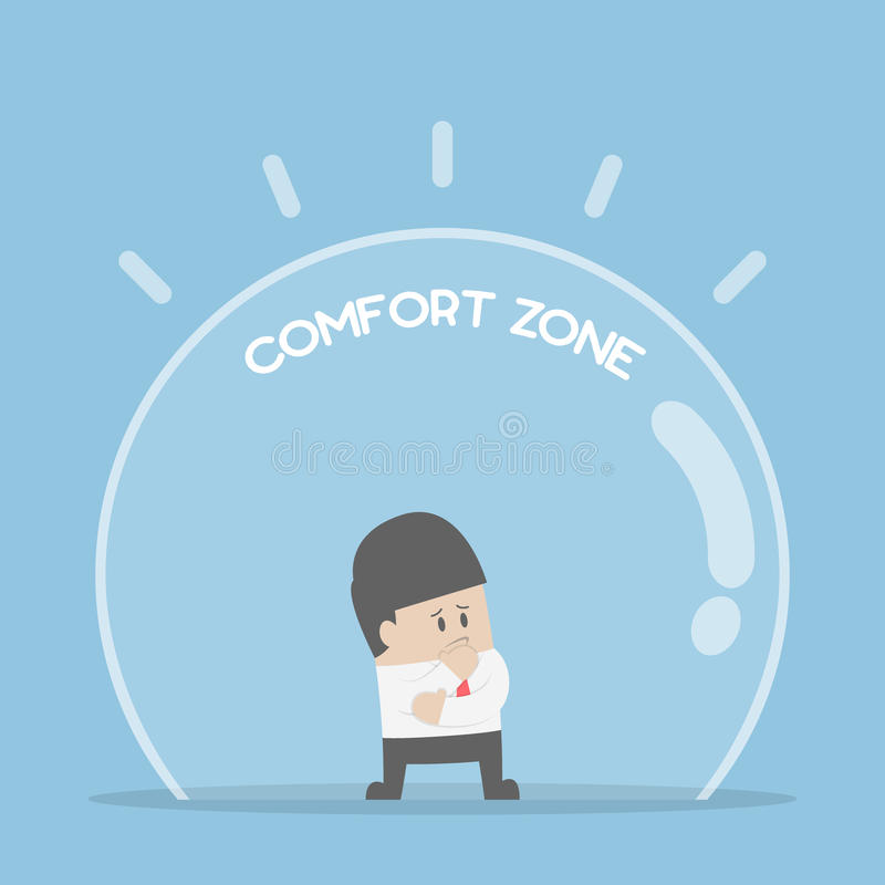 Businessman standing in comfort zone stock illustration