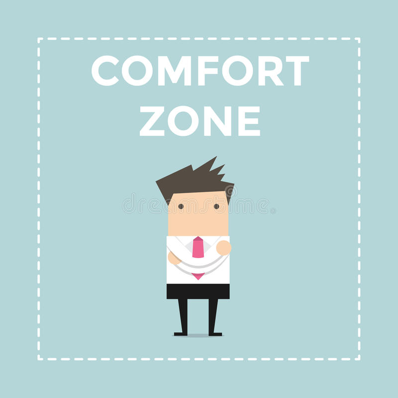 Businessman standing in comfort zone. stock illustration