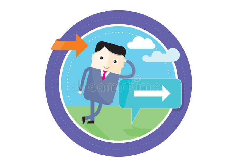 Businessman standing at a crossroad. A signpost vector illustration