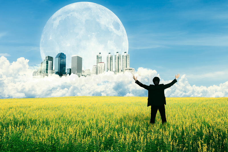 Businessman standing on the field and watching the future city stock photos