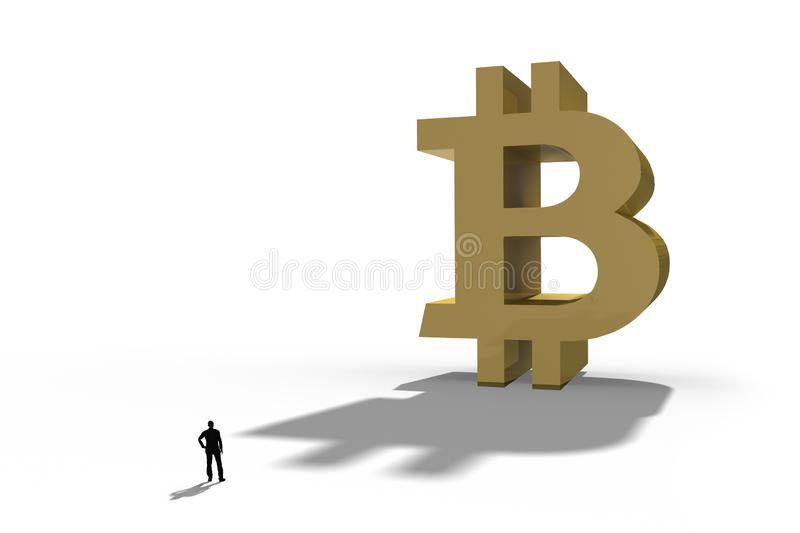Businessman standing in front of a giant Bitcoin symbol. Internet payment,finance and business concept royalty free stock photography