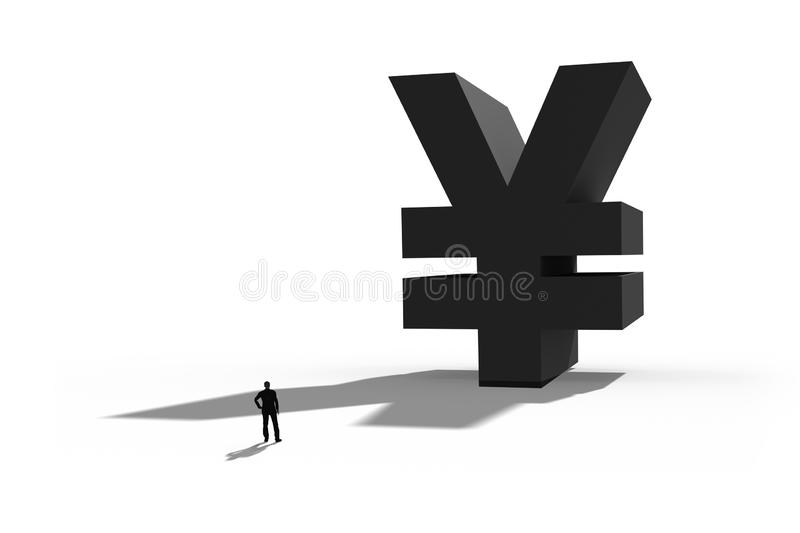 Businessman standing in front of a giant Yen symbol. Internet payment,finance and business concept stock images