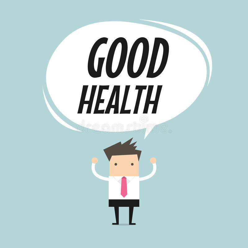 Businessman standing with good health word balloon, healthy lifestyle concept. Vector illustration vector illustration