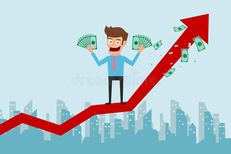 Businessman standing on growth graph and holding money. Success concept. Cartoon Vector Illustration royalty free illustration