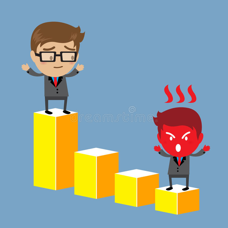 Businessman standing on highest graph bar stand royalty free illustration