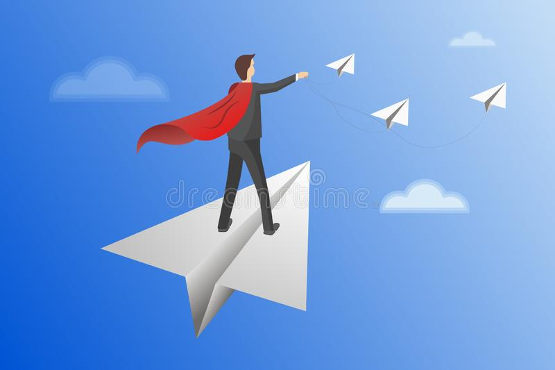 Businessman standing holding binocular on paper airplane go to flag red. on blue background. go to goal and business. Finance success. leadership. creative idea royalty free illustration