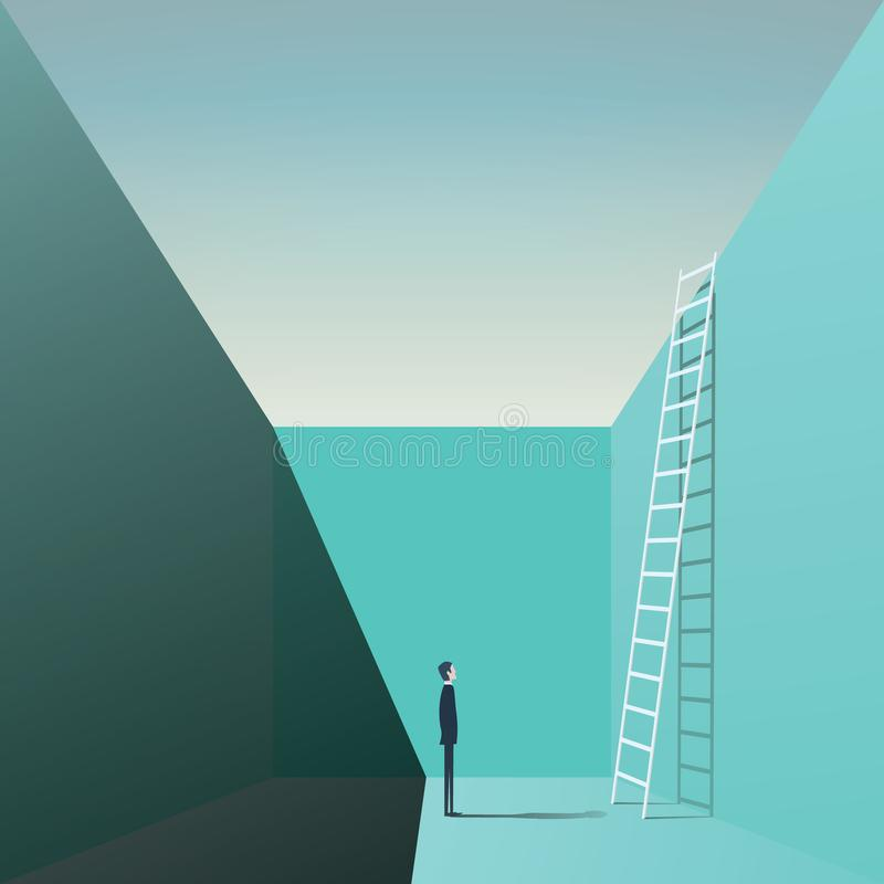 Businessman standing in a hole with ladder. Business vector concept of solution, challenge, opportunity. royalty free illustration