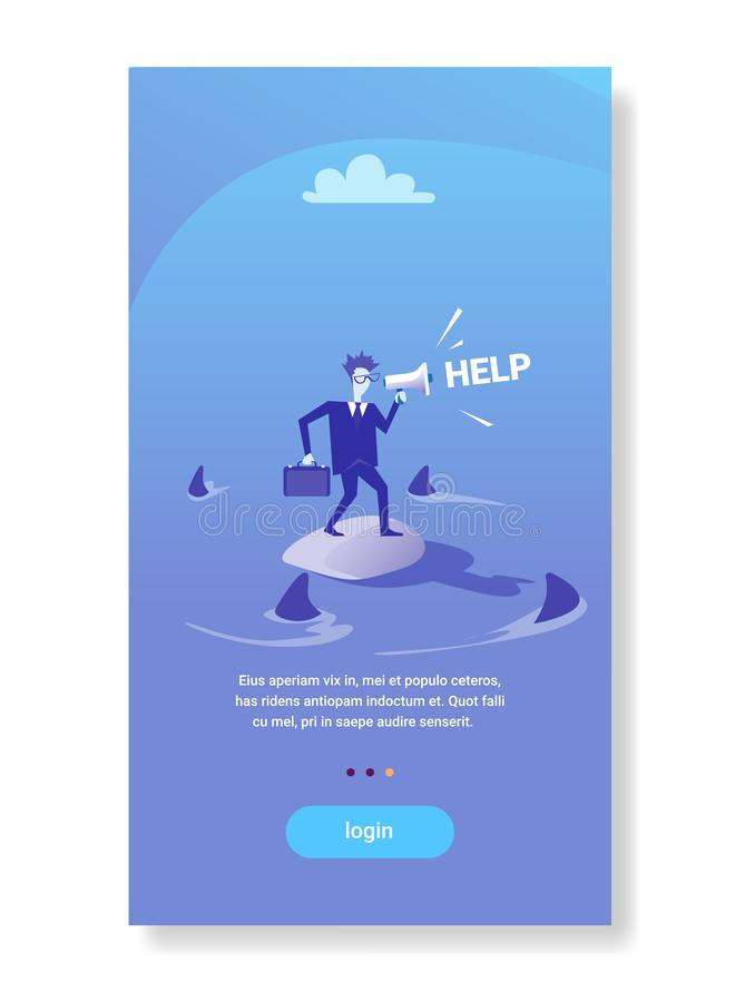 Businessman standing island calling for help in sea water sharks around financial crisis business problems concept flat. Vertical copy space vector illustration stock illustration