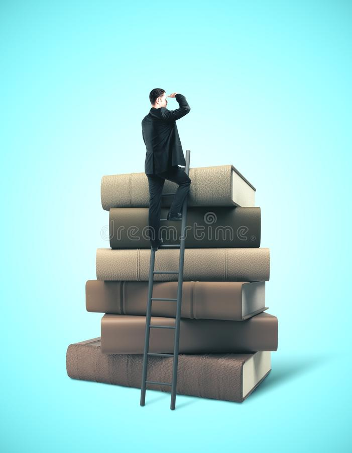 Businessman standing on ladder. On stack of books. Business education concept stock photography