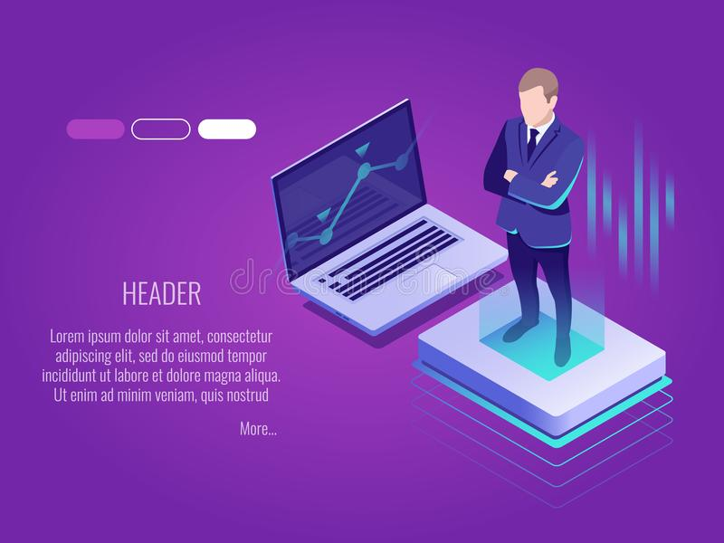 Businessman is standing on the luminous button.Isometric concept of IT technology,server management.Web header template. stock illustration
