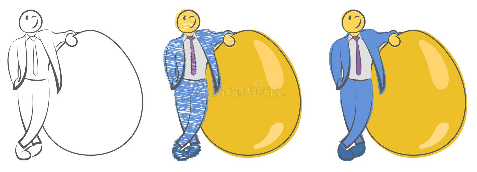 Businessman is standing near large golden egg. Concept for wealth. Natural born leader. Startups and new businesses. Investment an stock illustration