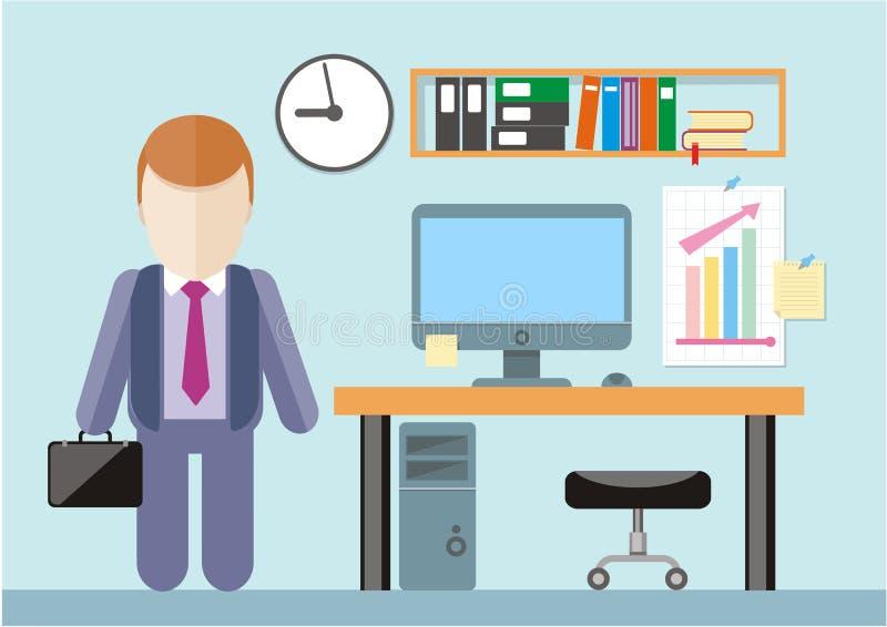 Businessman standing in office vector illustration
