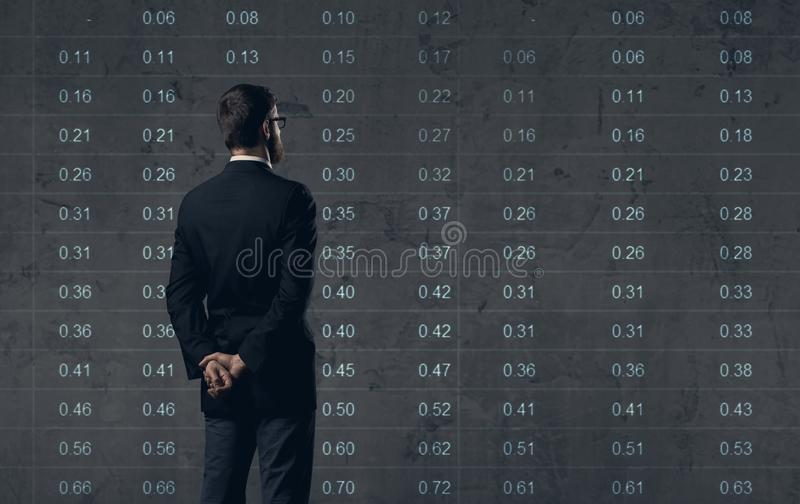Businessman standing over diagram background. Business, office,. Investment concept stock photo