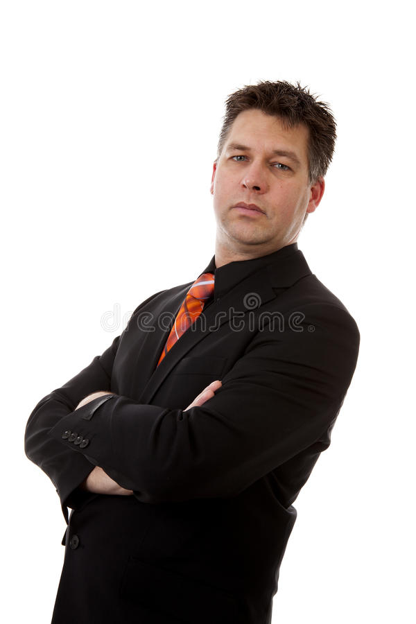 Businessman is standing over white background royalty free stock images
