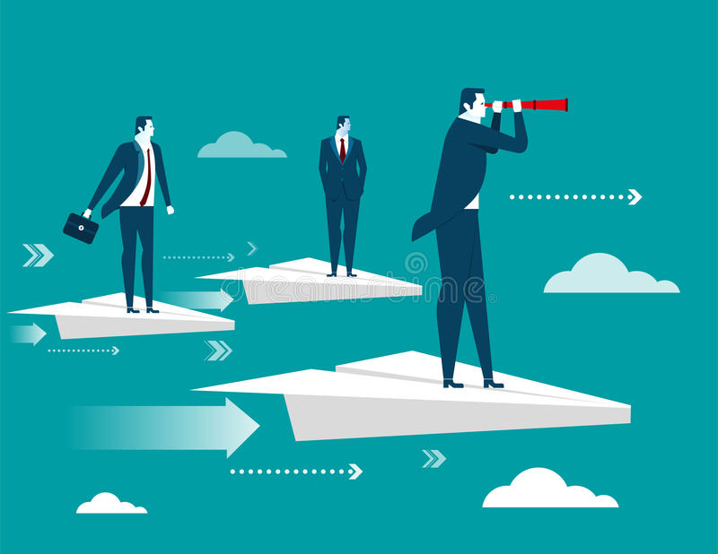 Businessman standing on paper plane vector illustration