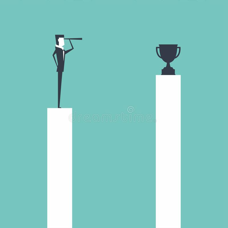 Businessman standing on pillar and use telescope looking to trophy for success. royalty free illustration