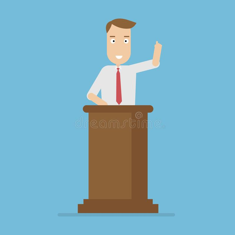 Businessman standing at a podium giving a speech stock illustration