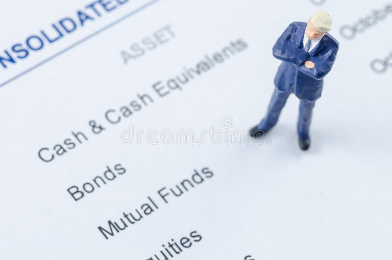Businessman standing on the portfolio investment royalty free stock photo
