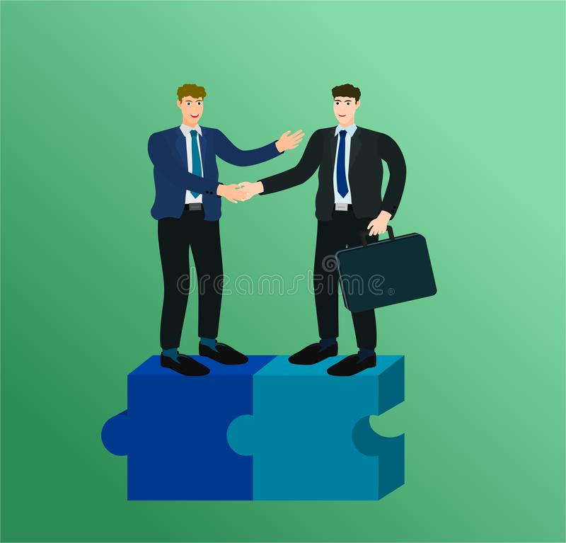 Businessman standing on puzzle and handshake agreement vector illustration